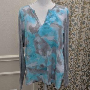 Tahari Blouse Shirt Tunic Long Sleeve V Neck